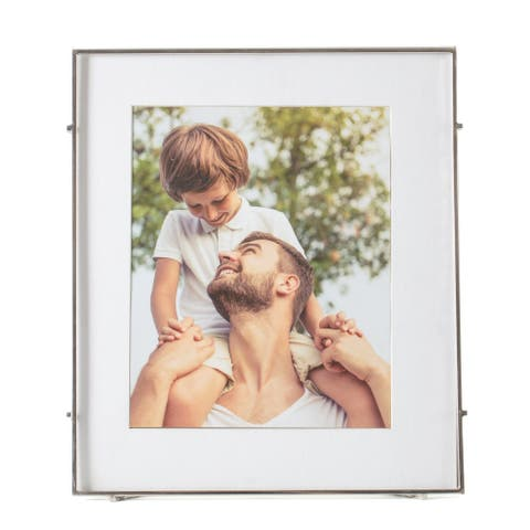 "Barin 80 Silver Square Rod Photo Frame 8""X10"" ( 12""X14"" Matted )"