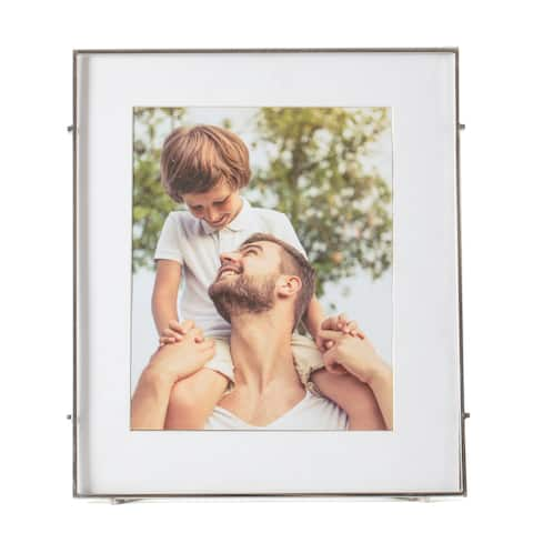 """Barin 80 Silver Square Rod Photo Frame 8""""X10"""" ( 12""""X14"""" Matted )"""