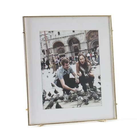 "Barin 80 Gold Square Rod Photo Frame 8""X10"" ( 12""X14"" Matted )"