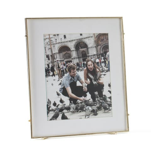 """Barin 80 Gold Square Rod Photo Frame 8""""X10"""" ( 12""""X14"""" Matted )"""