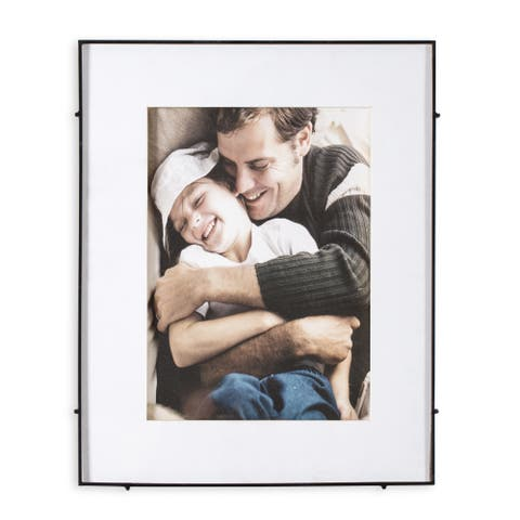 """Barin 14 Black Square Rod Photo Frame 10""""X14"""" ( 16""""X20"""" Matted )"""