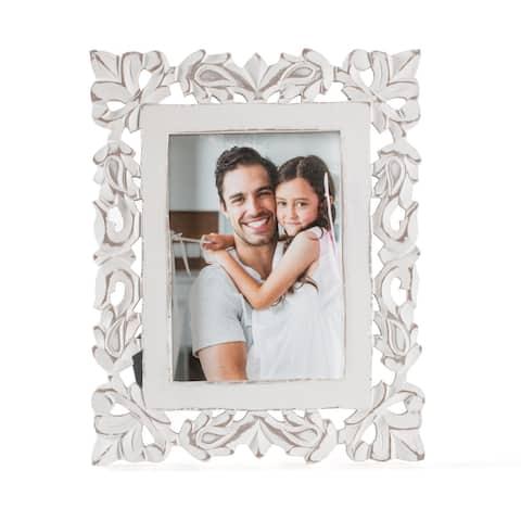 """Pisa57 White Carved Frame 5""""X7"""""""