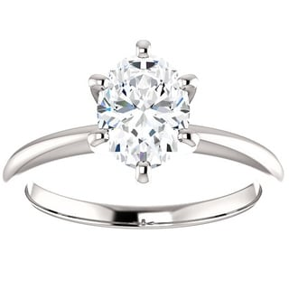 Pompeii3 Platinum 1 Ct TDW Oval Diamond Solitaire Engagement Ring Enhanced