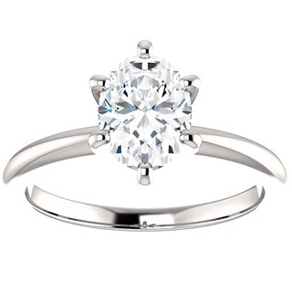 Bliss Platinum 1 Ct TDW Oval Diamond Solitaire Engagement Ring Enhanced