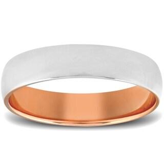 Pompeii3 10k Rose Gold Mens 5mm Two Tone Ring Polished Wedding Band
