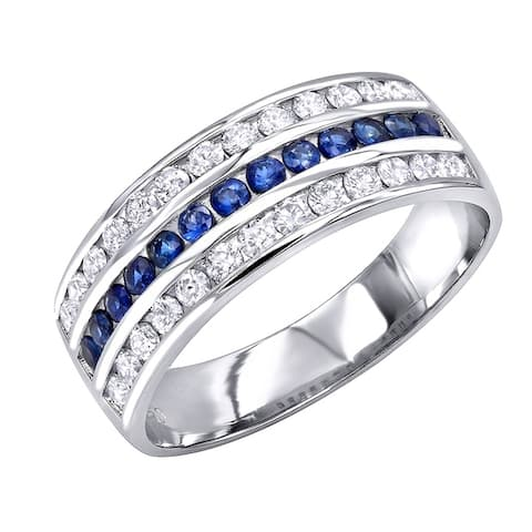 Platinum Sapphire and Diamond Wedding Band for Men or Women 0.8ctw G-H Color by Luxurman