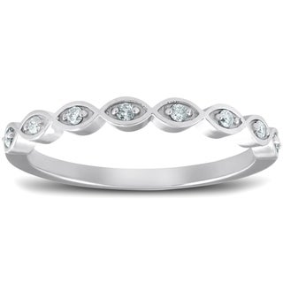Bliss 10k White Gold Diamond Marquise Framed Wedding Ring Stackable Womens Band