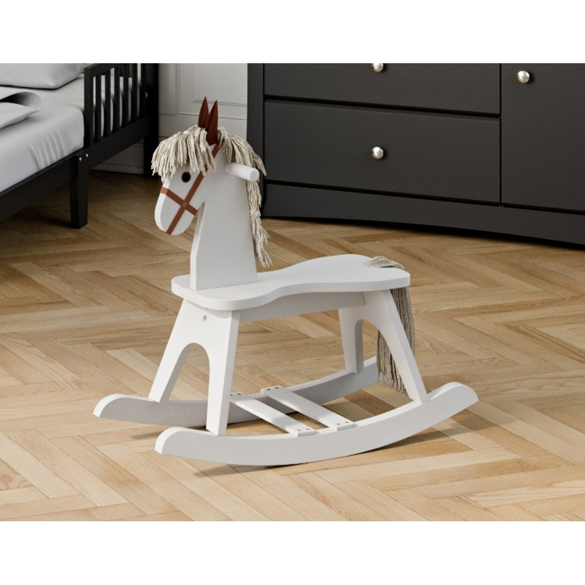 Wooden Kids Rocking Horse Ride Toy For Toddlers And Small Children