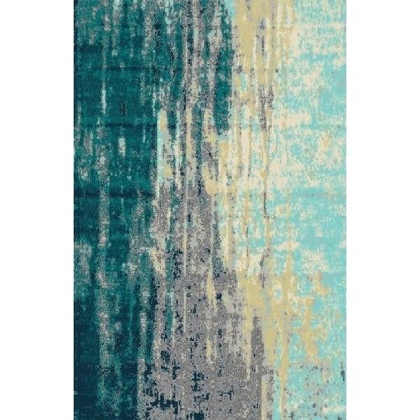 Gray Blue Contemporary 2x3 Rug - 2' x 3'