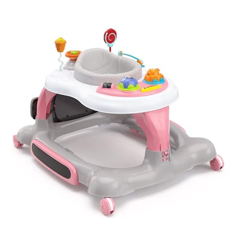 Storkcraft 3-in-1 Toddler Activity Walker and Rocker with Jumping Board - with Electronic Toy Tray and 360-Degree Swivel Seat