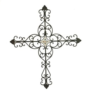 Hanging Iron Cross with Tile Center Accent