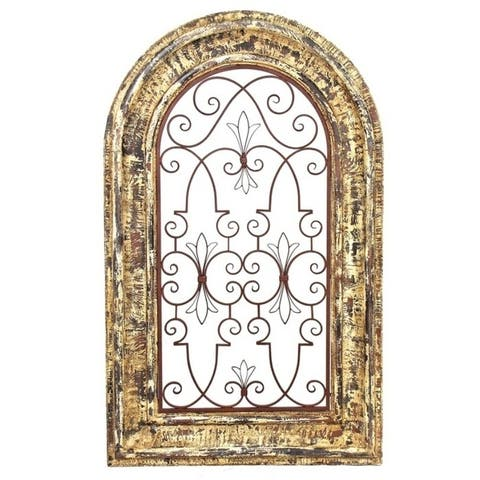 Arched Wooden Wall Decor with Iron Center - Large