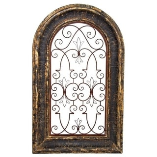 Arched Wooden Wall Frame Décor with Iron Center in Tuscany Black Finish