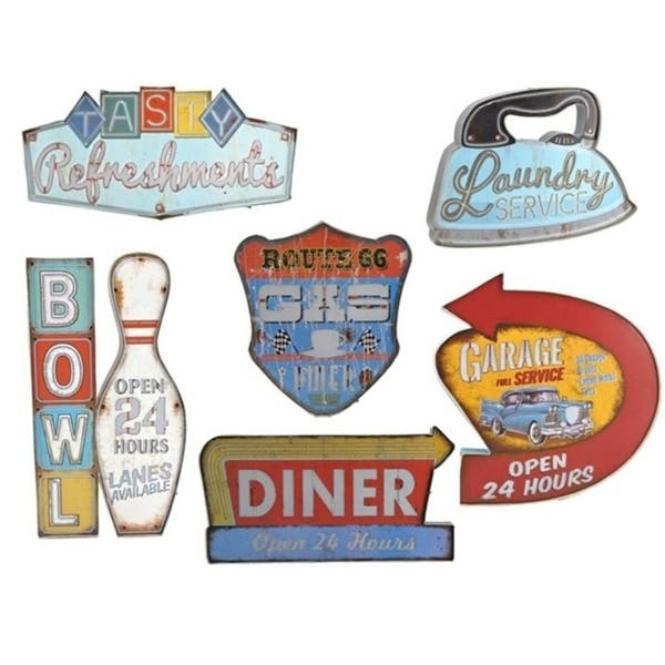 Set Of 6 Vintage Style Nifty Fifties Light Up Wall Signs Medium Overstock 26443622