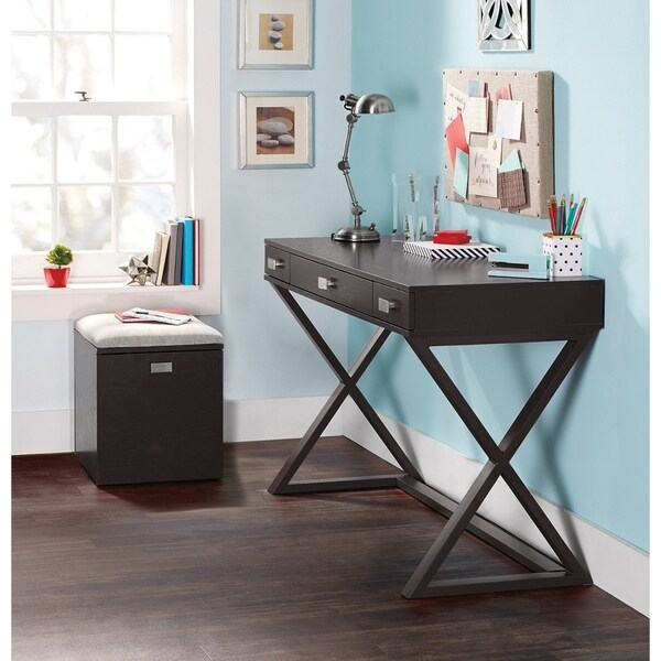 Os Home And Office Furniture Model 384266 Kate Writing Desk In Black With Three Drawers