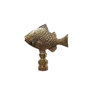 Royal Designs Fish Design Lamp Finial, Polished Brass