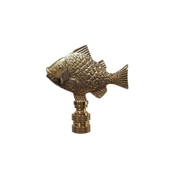 Royal Designs Fish Design Lamp Finial, Polished Brass
