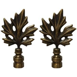 Royal Designs Maple Leaf Design Lamp Finial, Antique Brass- Set of 2