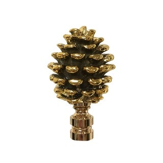 Royal Designs Pine Cone Design Lamp Finial, Polished Brass