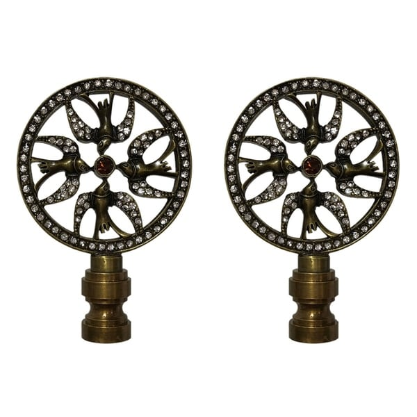 Royal Designs Bird Filigree Design with Crystal Embelishments Lamp Finial, Antique Brass- Set of 2