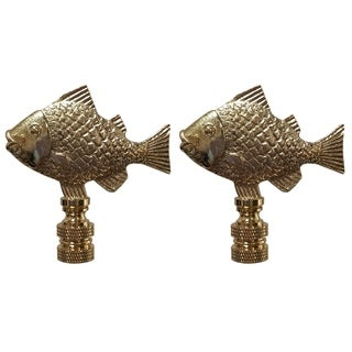 Royal Designs Fish Design Lamp Finial, Polished Brass- Set of 2