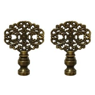 Royal Designs Floral Vintage Filigree Design Lamp Finial, Antique Brass- Set of 2