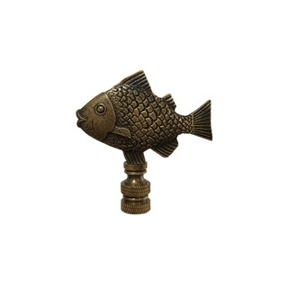 Royal Designs Fish Design Lamp Finial, Antique Brass