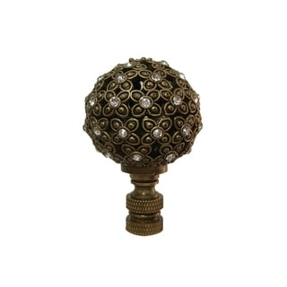 Royal Designs Floral Motif Sphere with Crystal Accents Lamp Finial, Antique Brass