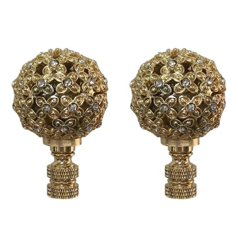 Royal Designs Floral Motif Sphere with Crystal Accents Lamp Finial, Polished Brass- Set of 2