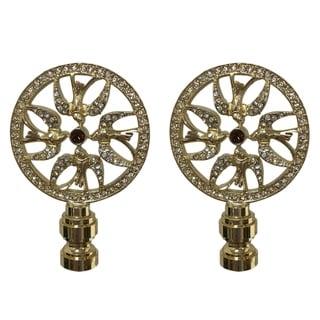 Royal Designs Bird Filigree Design with Crystal Embelishments Lamp Finial, Polished Brass- Set of 2