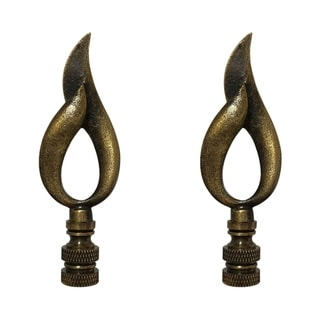 Royal Designs Modern Flame Design Lamp Finial, Antique Brass- Set of 2