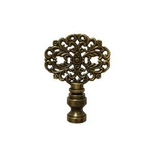 Royal Designs Floral Vintage Filigree Design Lamp Finial, Antique Brass