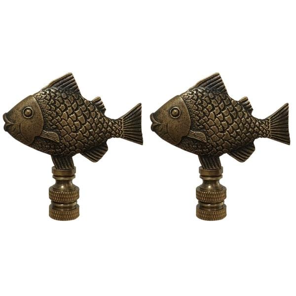 Royal Designs Fish Design Lamp Finial, Antique Brass- Set of 2