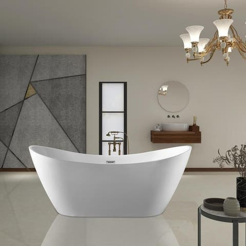 Vanity Art 71-Inch Freestanding Acrylic Bathtub Stand Alone Soaking Tub with Polished Chrome Slotted Overflow & Pop-up Drain