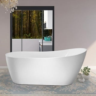 Vanity Art 59-Inch Freestanding Acrylic Bathtub Stand Alone Soaking Tub with Polished Chrome Slotted Overflow & Pop-up Drain