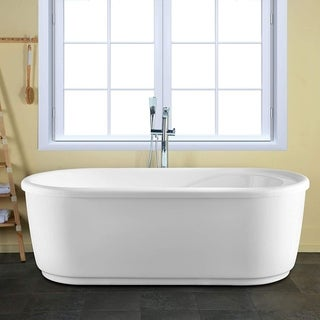 Vanity Art 59-Inch Freestanding Acrylic Bathtub Stand Alone Soaking Tub with Polished Chrome Round Overflow & Pop-up Drain - 59