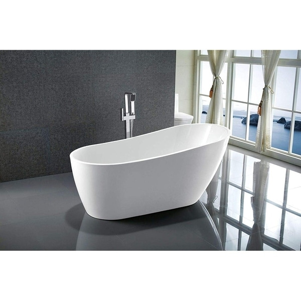 "Vanity Art 55"" Freestanding Acrylic Bathtub Modern Stand Alone Soaking Tub with Polished Chrome Slotted Overflow & Pop-up Drain"