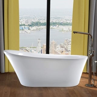 Vanity Art 70-Inch Freestanding Acrylic Bathtub Stand Alone Soaking Tub with Polished Chrome Round Overflow & Pop-up Drain - 70