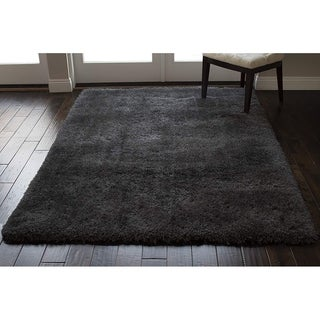 Romance Epic Dark Gray Dark Grey Solid Shag Shaggy Area Rug Carpet - 8' x 10'