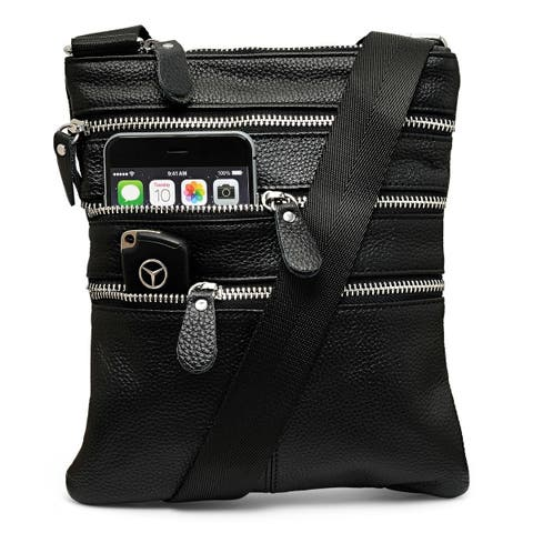 Unisex Genuine Leather Crossbody Bag 3 Zippers Available in 3 colors
