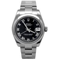 31mm Rolex Stainless Steel Oyster Perpetual Datejust Watch with Black Dial - N/A