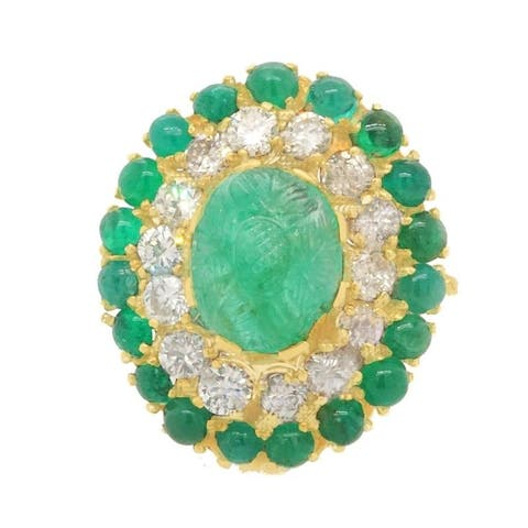 18K Yellow Gold Diamond Carved Emerald Antique Cocktail Ring