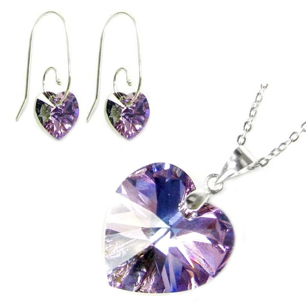 e1610f7c0 Shop Queenberry 925 Sterling Silver Necklace Vitrail Light Heart Pendant  Earrings Made W/. Swarovski Elements Crystal - On Sale - Free Shipping On  Orders ...