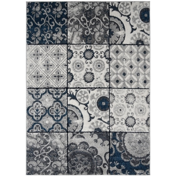 Patches Cream Blue Gray Stylish Transitional Area Rug
