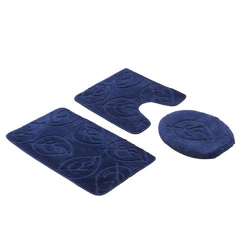 Leaf 3 Piece Bath Set Bathroom Rug Large Contour Mat Lid Cover