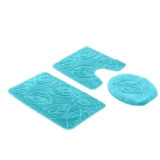 """Leaf 3 Piece Bath Set Bathroom Rug Large Contour Mat Lid Cover - 18"""" x 18""""/18"""" x 30"""""""