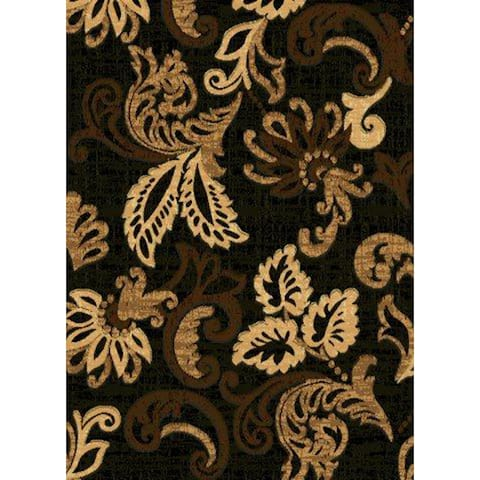 Black Floral Contemporary 2x3 Area Rug - 2' x 3'