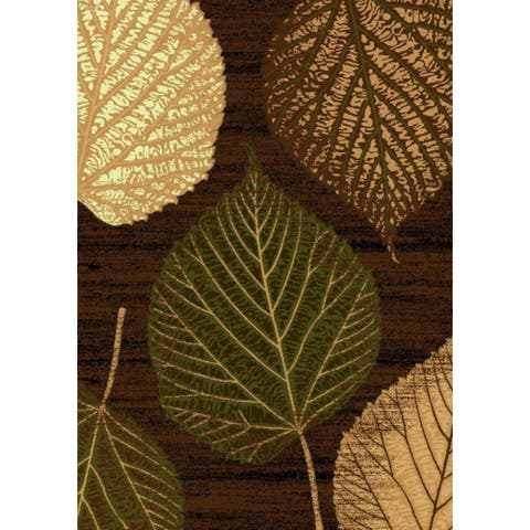 Brown Green Leaf Contemporary 2x3 Area Rug - 2' x 3'