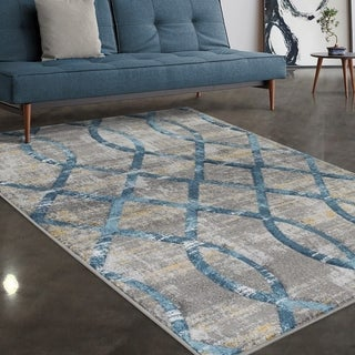 """Allstar Rugs Grey and Light Grey Lattice Hand Carved Rectangular Area Rug with Turquoise Design - 7' 5"""" x 9' 8"""""""