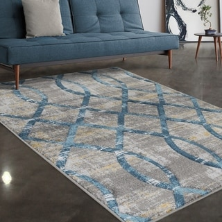 """Allstar Rugs Grey and Light Grey Lattice Hand Carved Rectangular Area Rug with Turquoise Design - 4' 11"""" x 7' 0"""""""